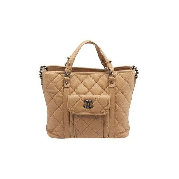 Pre Owned Chanel Beige Quilted Leather Tote 4 500 Liked On Polyvore Featuring Bags Handbags Purse