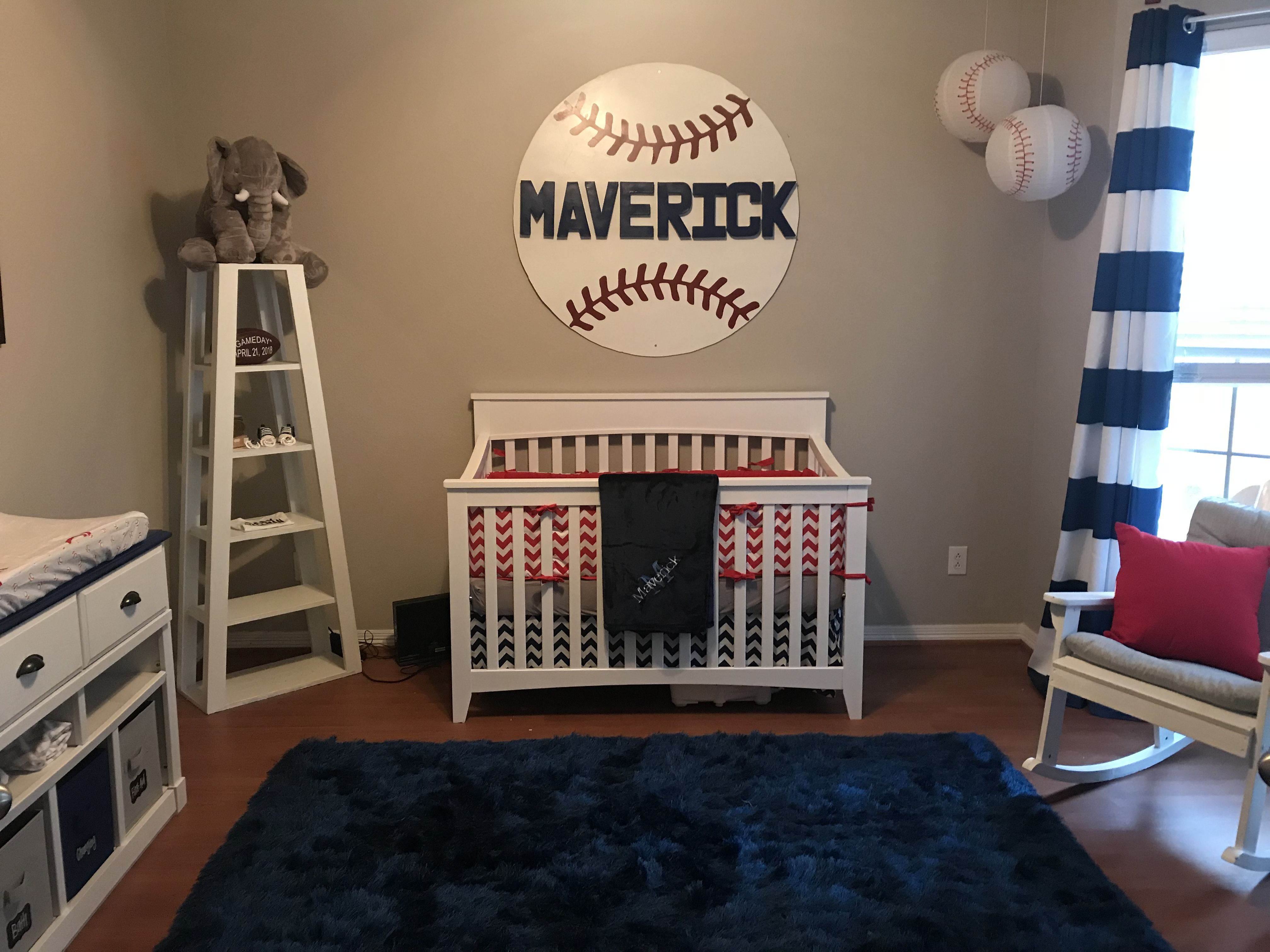 Baseball Nursery Red White And Blue Nursery Decor Boy
