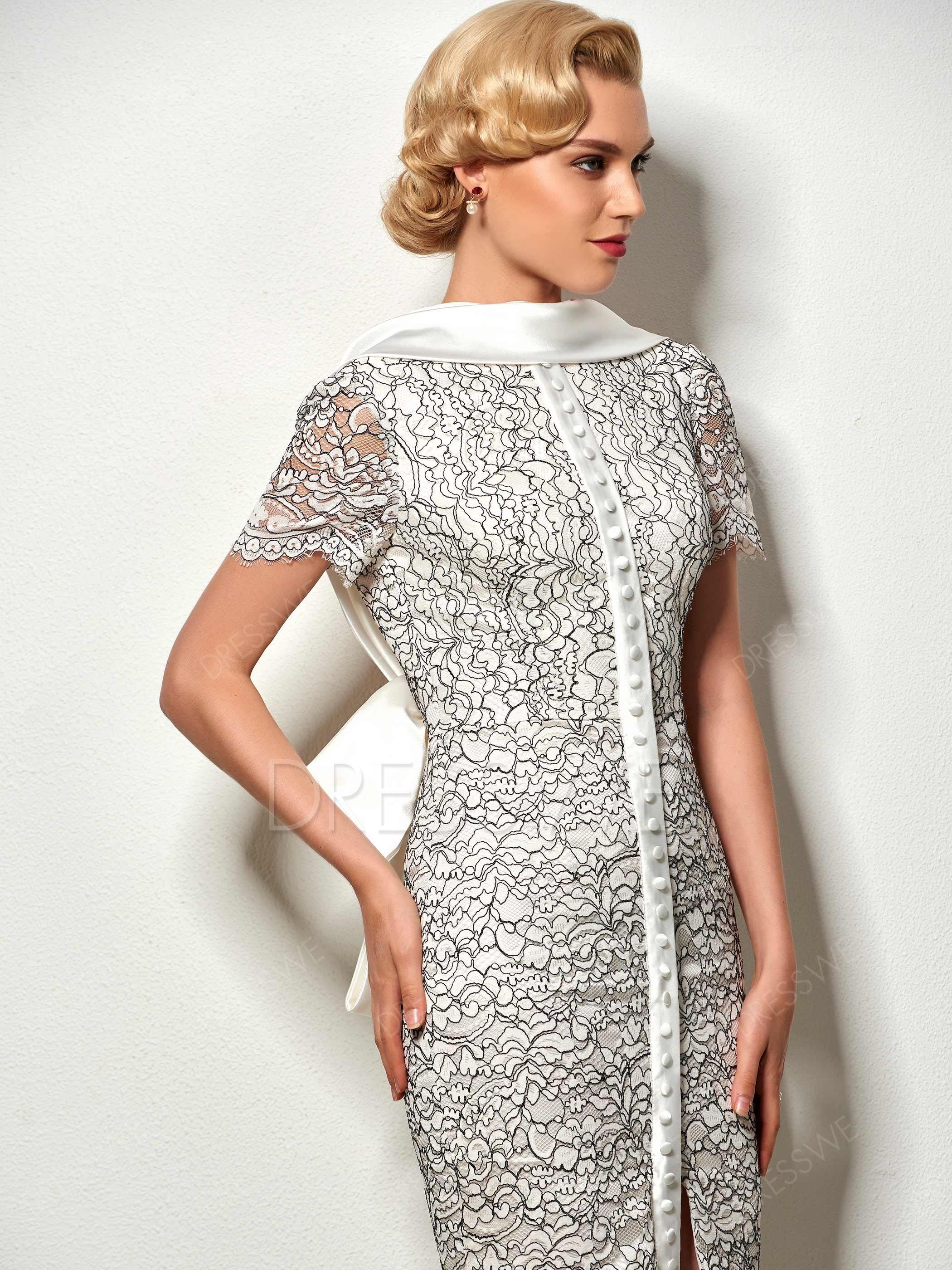 $99.99 Dresswe.com SUPPLIES Vintage Sheath Short Sleeve Lace Backless Knee Length Cocktail Dress #backlesscocktaildress