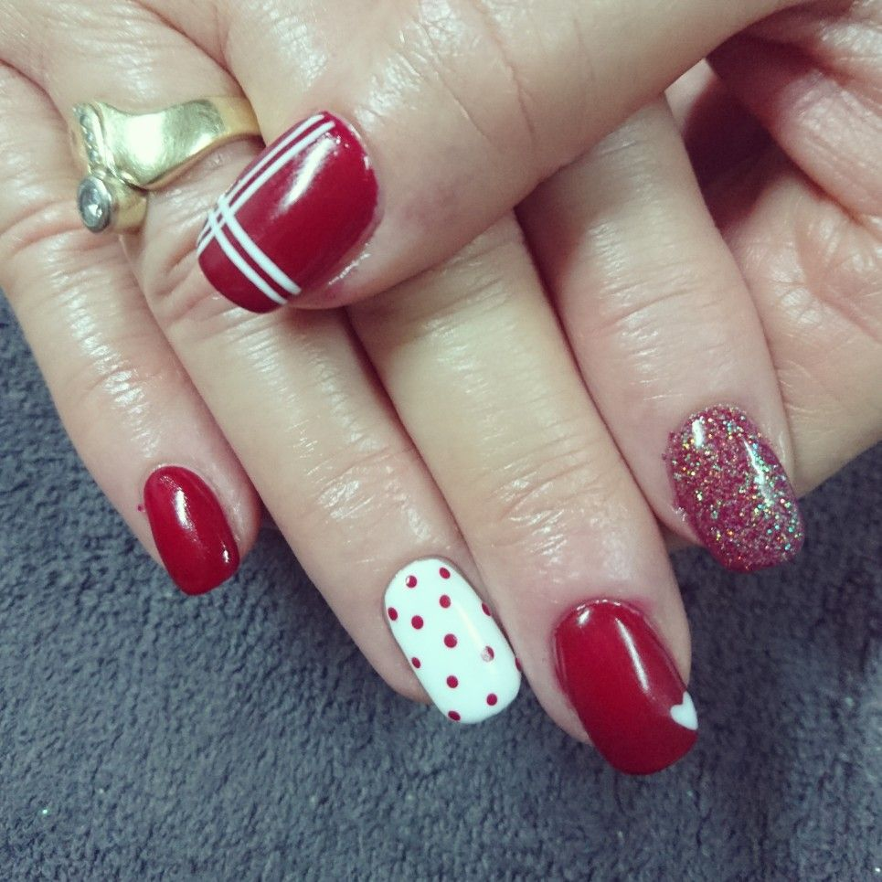 Red and white nails with stripes, dots, glitter and heart ...