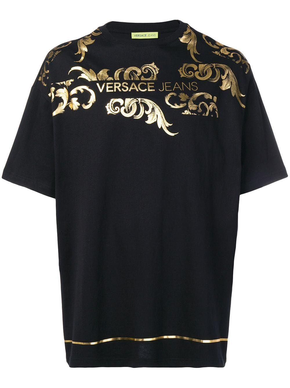 Versace Jeans Versace Jeans Baroque Print T Shirt Black Versacejeans Cloth Versace Jeans Versace Versace Jeans Couture