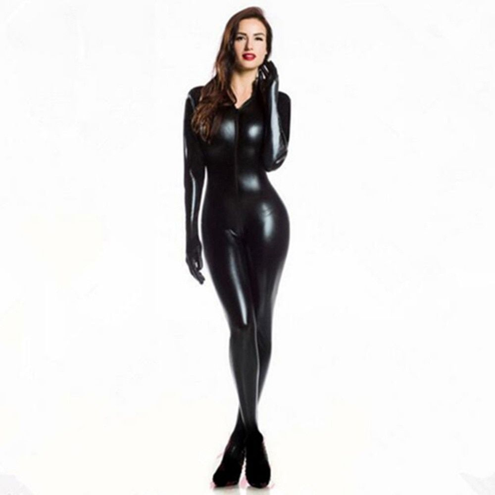 42af63933498e Plus XXL Size Wome's 2way zipper Faux Leather Catsuit Clubwear DS ...
