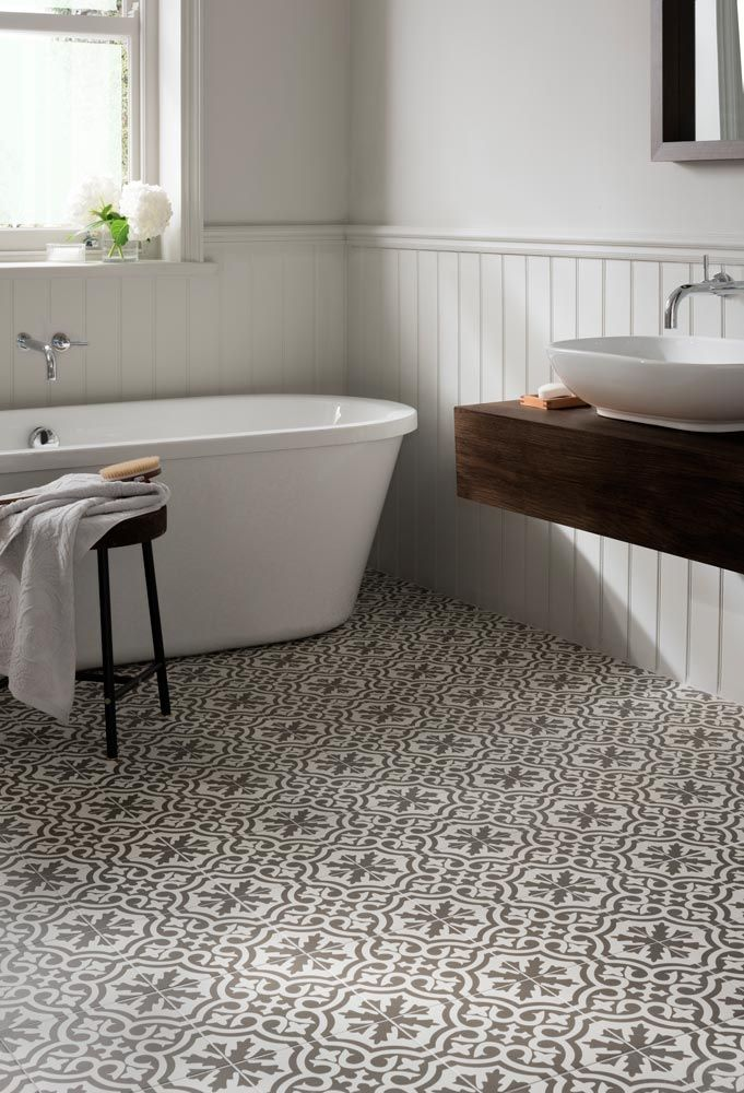 Spanish-style patterned bathroom floor tiles, an easy way to decorate from  http: