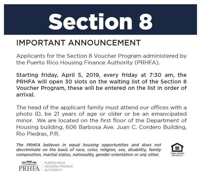 04 09 19 Puerto Rico Housing English Flyer Section 8 Has Opened Https Www Afv Pr Gov Finance Section 8 Puerto Rico