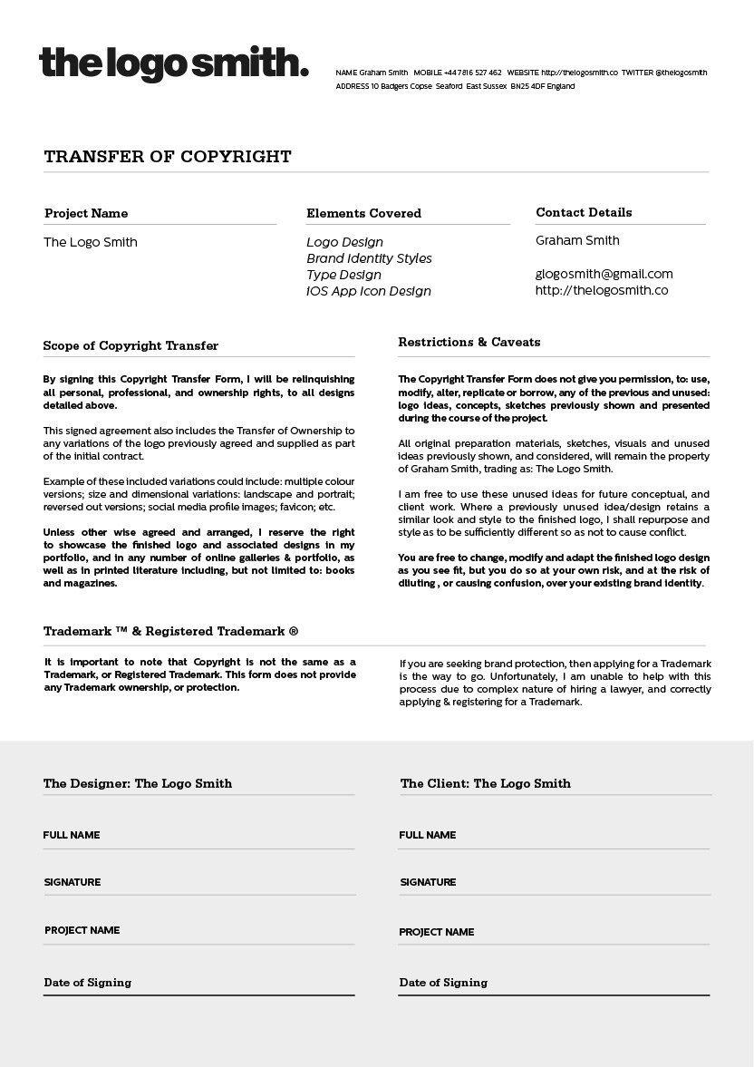 Logo Design Copyright Transfer Form Template For Download