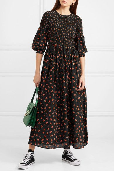 c27628d1 GANNI - Beacon Shirred Floral-print Cotton And Silk-blend Maxi Dress - Black