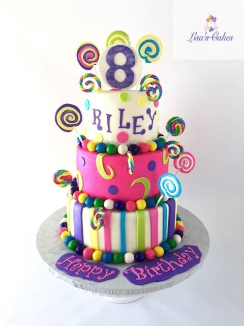 Buttercream Iced Tiers With Real And Fondant Lollipops Childrens