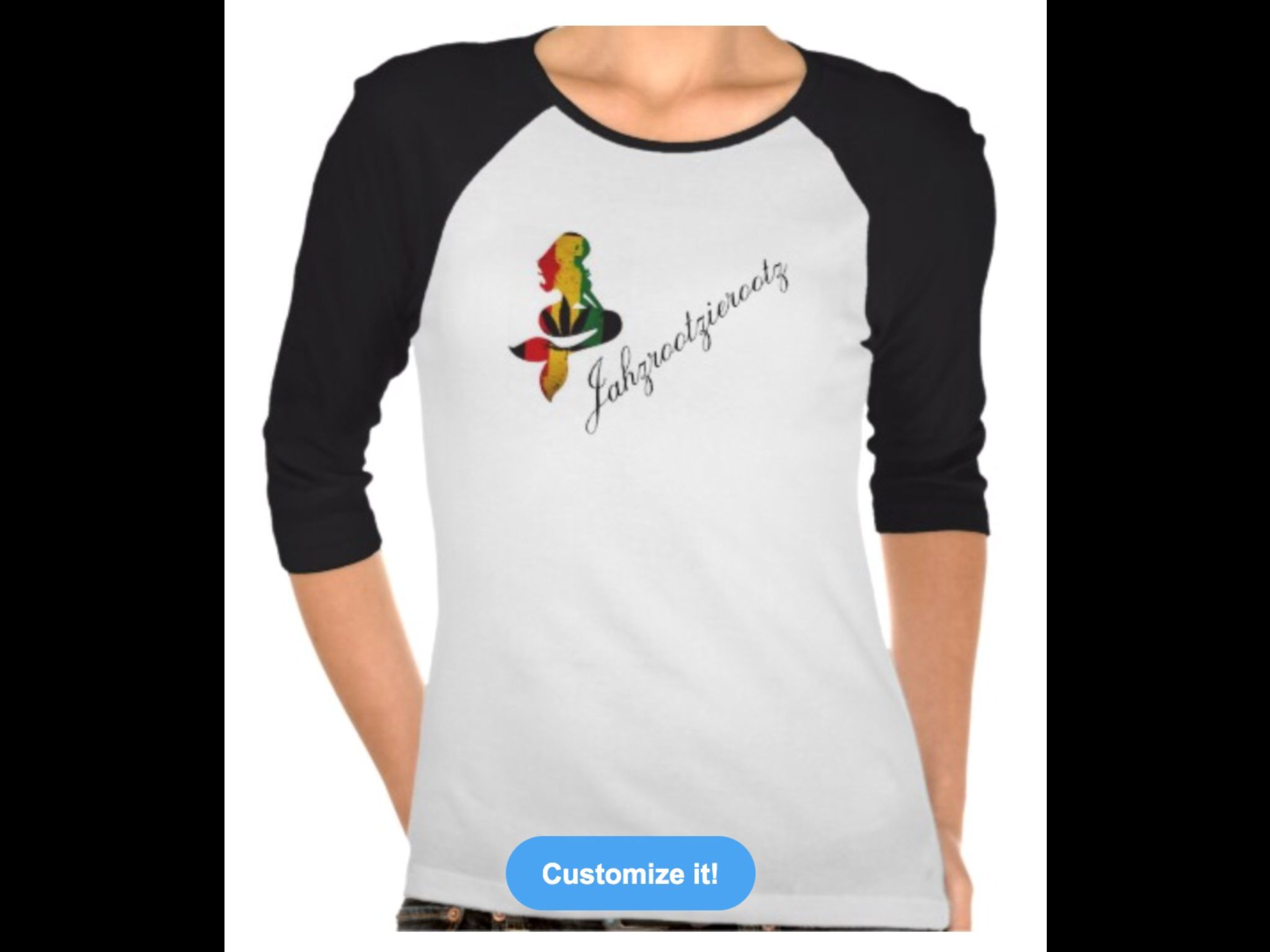 New line of women's 3/4 sleeve Jahzrootzierootz designs! Go checkout the new merchandise. Http://www.zazzle.com/Jahzrootzierootz*/