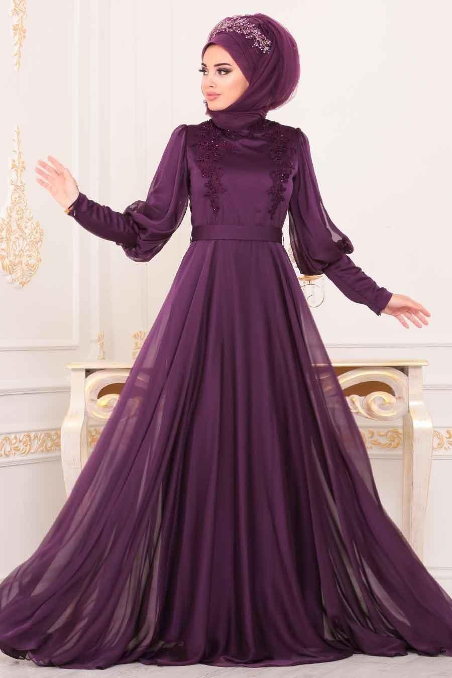 Tesetturlu Abiye Elbise Balon Kol Mor Tesettur Abiye Elbise 3927mor Tesettu Tesettur Abiye Modelleri 2020 The Dress Elbise Moda Stilleri