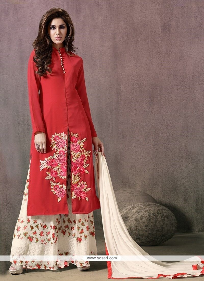 23f42a4d48 Elite Print Work Red Georgette Designer Palazzo Salwar Suit Model: YOS7120