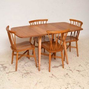 Retro Ercol Dining Table & 4 Chairs In Solid Elm Vintage 1950's Fair Second Hand Ercol Dining Room Furniture Design Inspiration