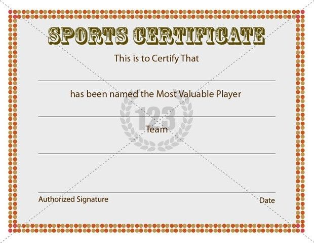 Most Valuable Player Sports Certificates Templates Free Download - certificate of origin template free