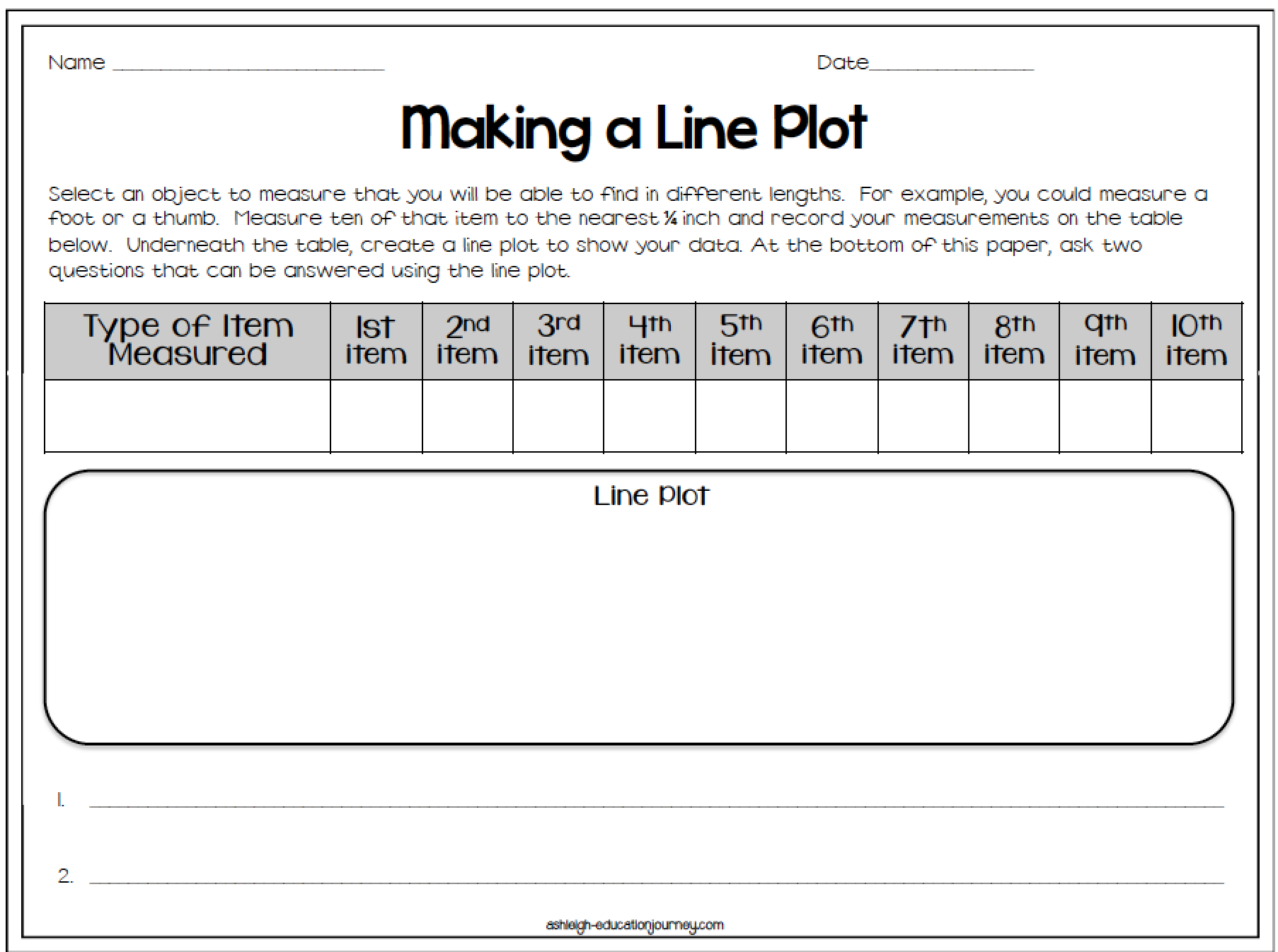 Third Grade 3rd Grade Line Plot Worksheets