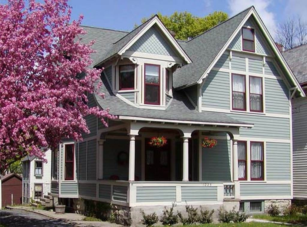 Exterior house color schemes gray similar to celtic blue with new pilgrim red and white trim Brown exterior house paint schemes