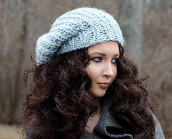 cf3d9a35aae25 Glacier Blue Slouchy Chunky Knit Hat Womens - Soho Beret - Blue Hat ...