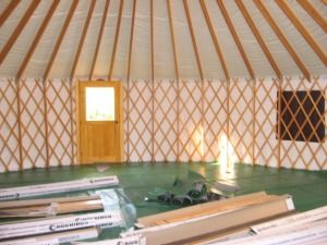 this is a yurt that a friend is building with his wife in vermont their