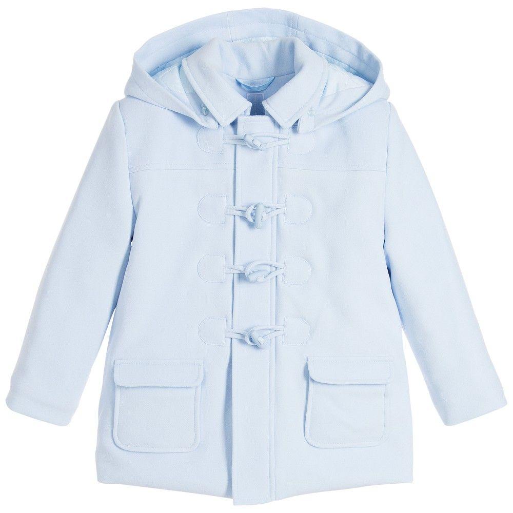 e48a17cb5 Tutto Piccolo Pale Blue Hooded Duffle Coat at Childrensalon.com ...