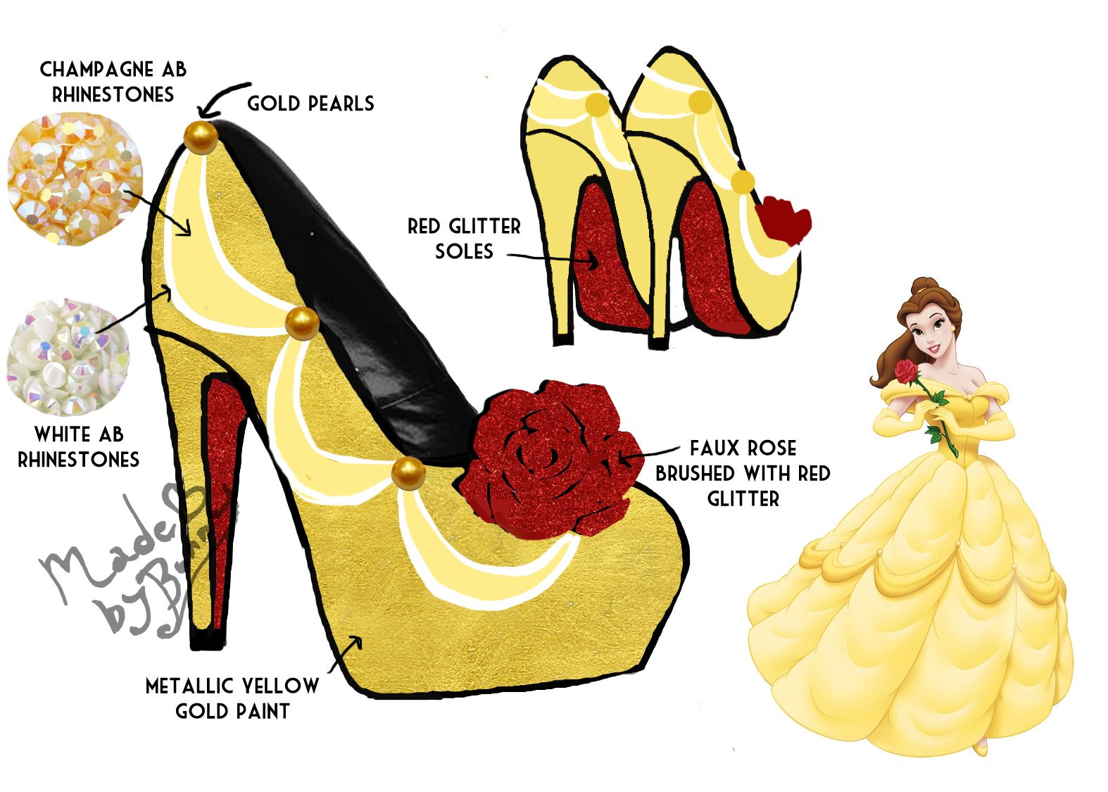 Belle ornament disney - Belle Beauty And The Beast Inspired Bedazzled High Heel Shoes Inspired By The Disney Runway