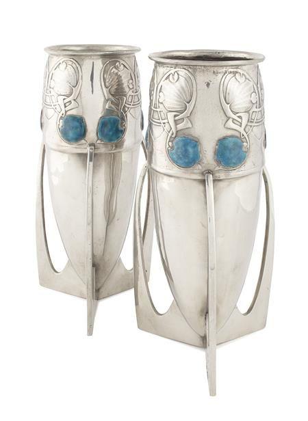 * ARCHIBALD KNOX (1864-1933) FOR LIBERTY & CO., LONDON PAIR OF LARGE 'TUDRIC' BULLET SHAPE PEWTER & ENAMEL VASES, CIRCA 1900
