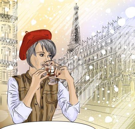 Stock Photo | Mujer tomando cafe, Cafes en paris y Ilustraciones