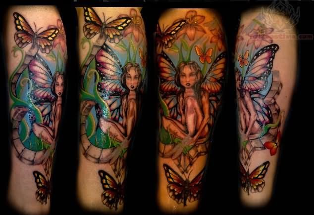 Butterfly And Fairy Tattoo Fairy Sleeve Tattoo Sleeve Tattoos Fairy Tattoo