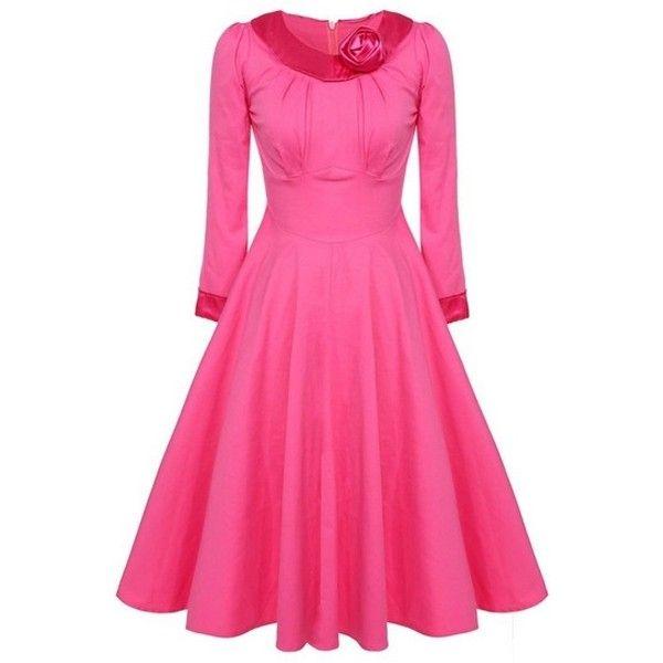 Rose Absorbing Round Neck Plain Skater-dress ❤ liked on Polyvore featuring dresses, skater dress, round neck dress, pink skater dress, pink dress and pink rose dresses