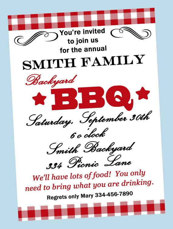 backyard barbecue invitation printable or printed with party bbq
