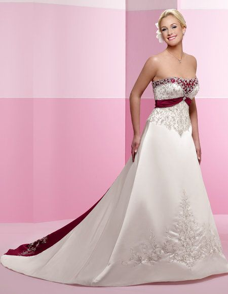 Red white and pink wedding dresses