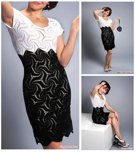 d410a16be Vestido a crochet blanco y negro | Crochet | Vestidos de ganchillo blanco,  Vestidos a crochet mujer y Vestidos de ganchillo