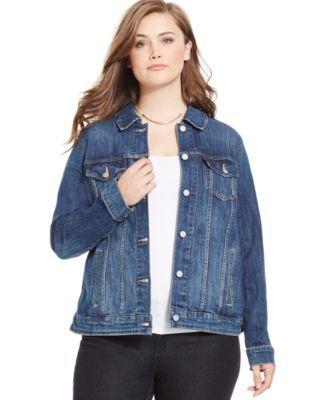 levi's® plus size denim jacket, dark blue wash | macys