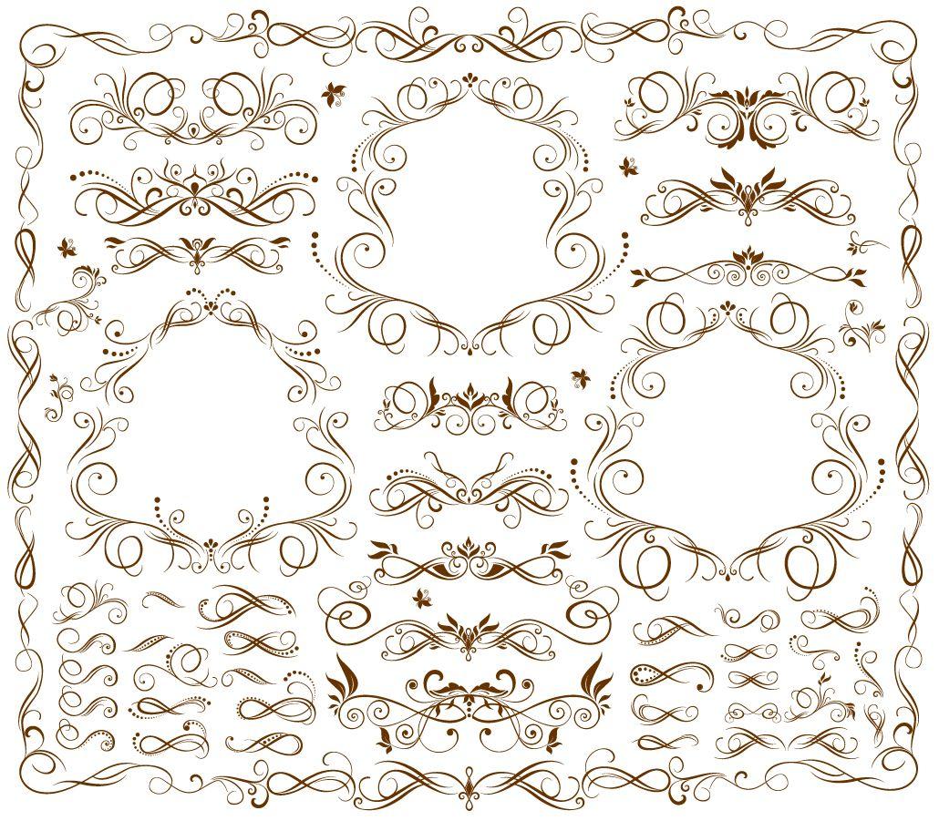 流麗な曲線の飾り罫 flow curves pattern borders イラスト素材3