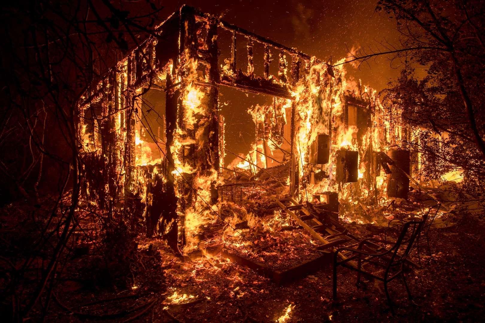 California Wildfires December 7 2017 Flames consume a home as a