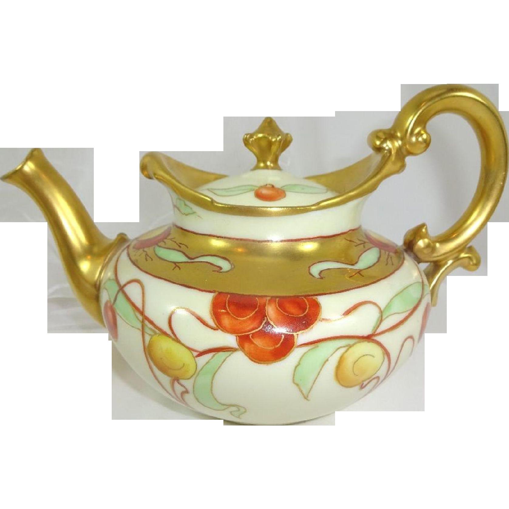 antique french limoges tea pot hand painted cherries tea pots