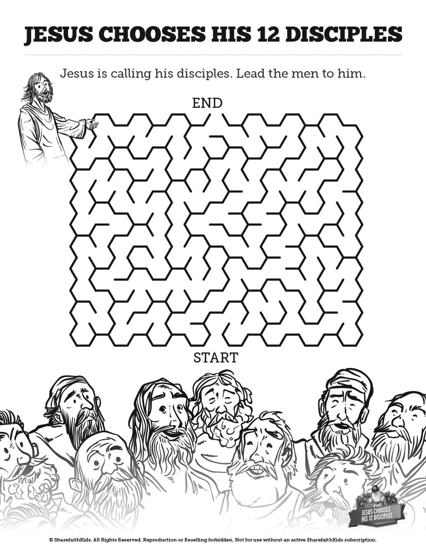 Jesus Chooses His 12 Disciples Bible Mazes This 12 Disciples