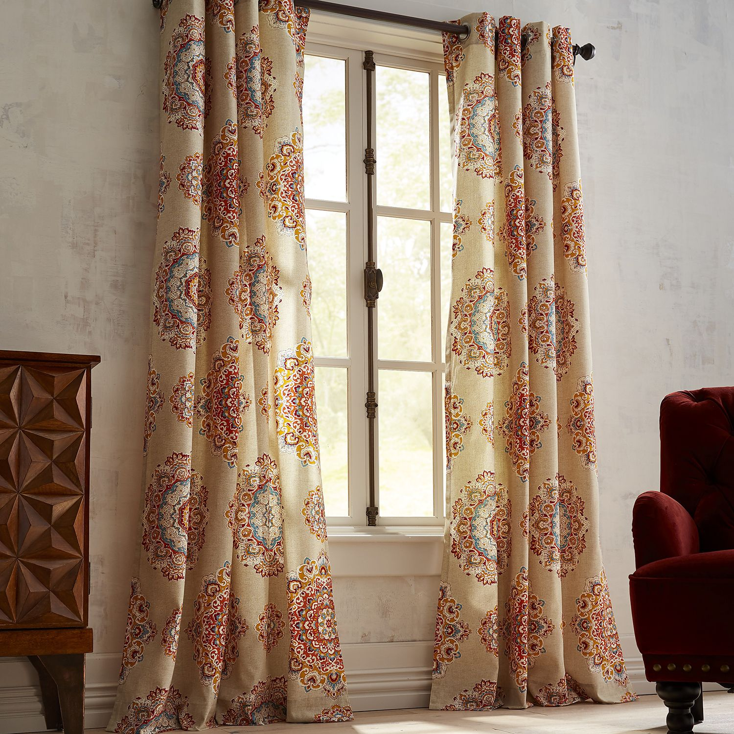 Hot pink curtains 108 inches - Suzani Jewel Curtain 108