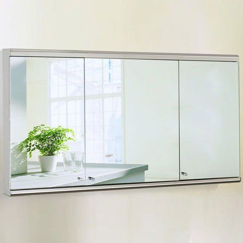 Bathroom Mirror Unit 1200 mm large mirror cabinet wall mounted 3 door stainless steel