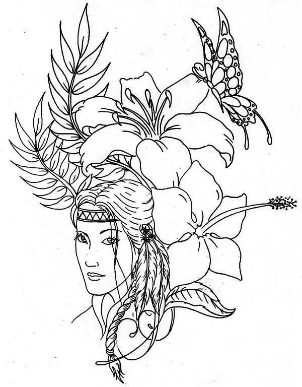 native american difficult coloring pages native american lovely native american coloring page - Girl Indian Coloring Pages