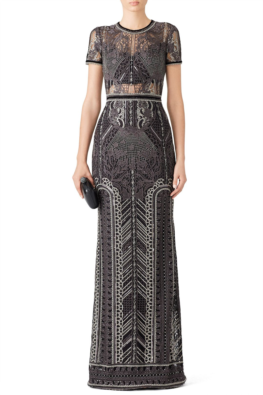 c22de98b Rent Silver Embroidered Gown by Marchesa Notte for $165 only at Rent the  Runway.