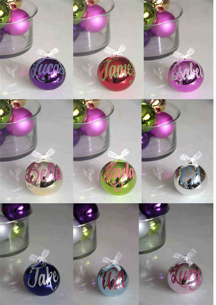 personalised christmas baubles shiny traditional