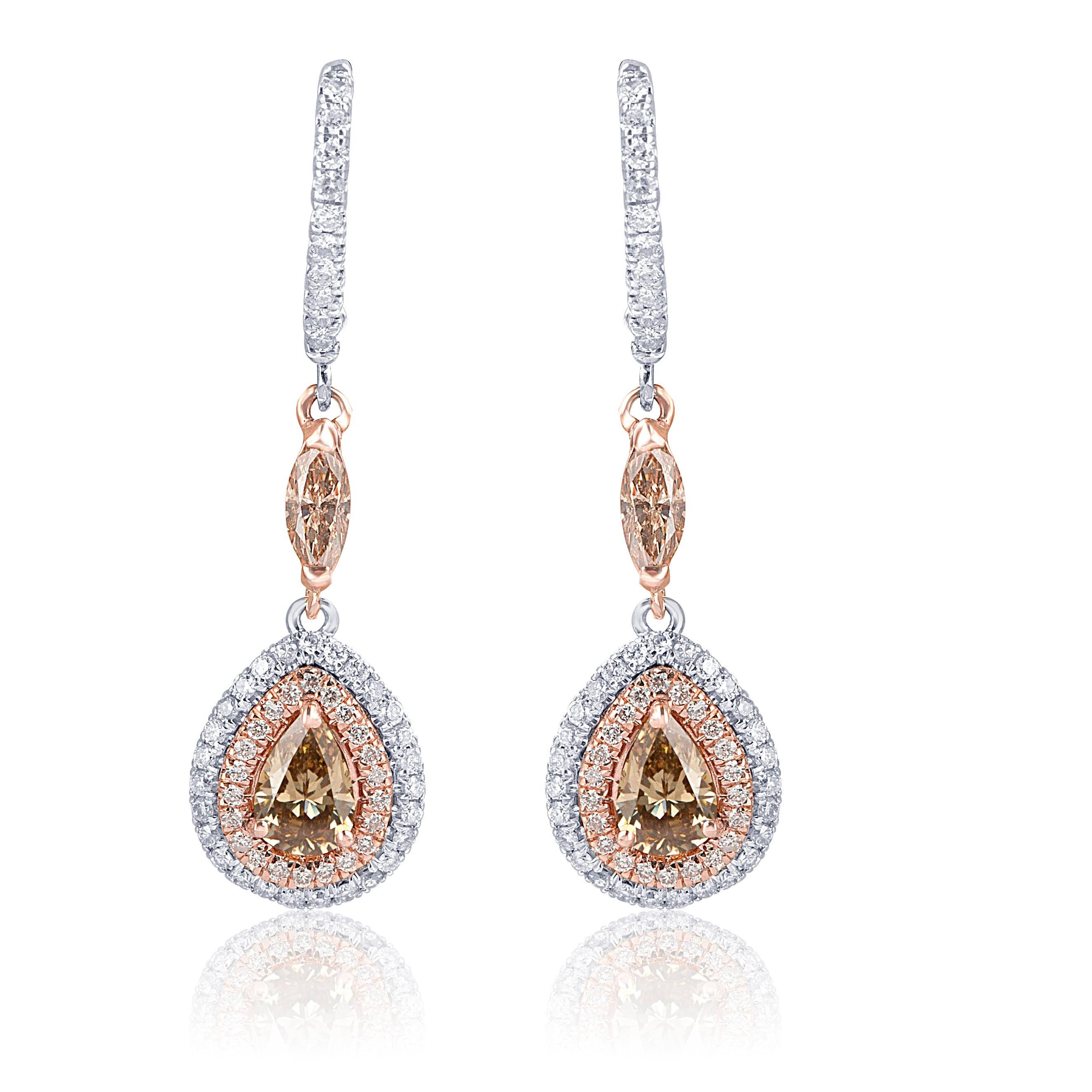 Champagne Diamond Drop Earrings 2 26 Ct Diamond Teardrop Earrings