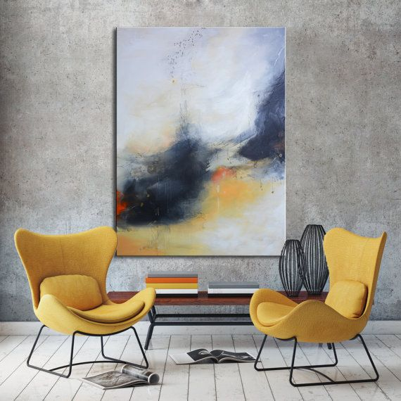 Abstract gold Painting grey white Black abstract