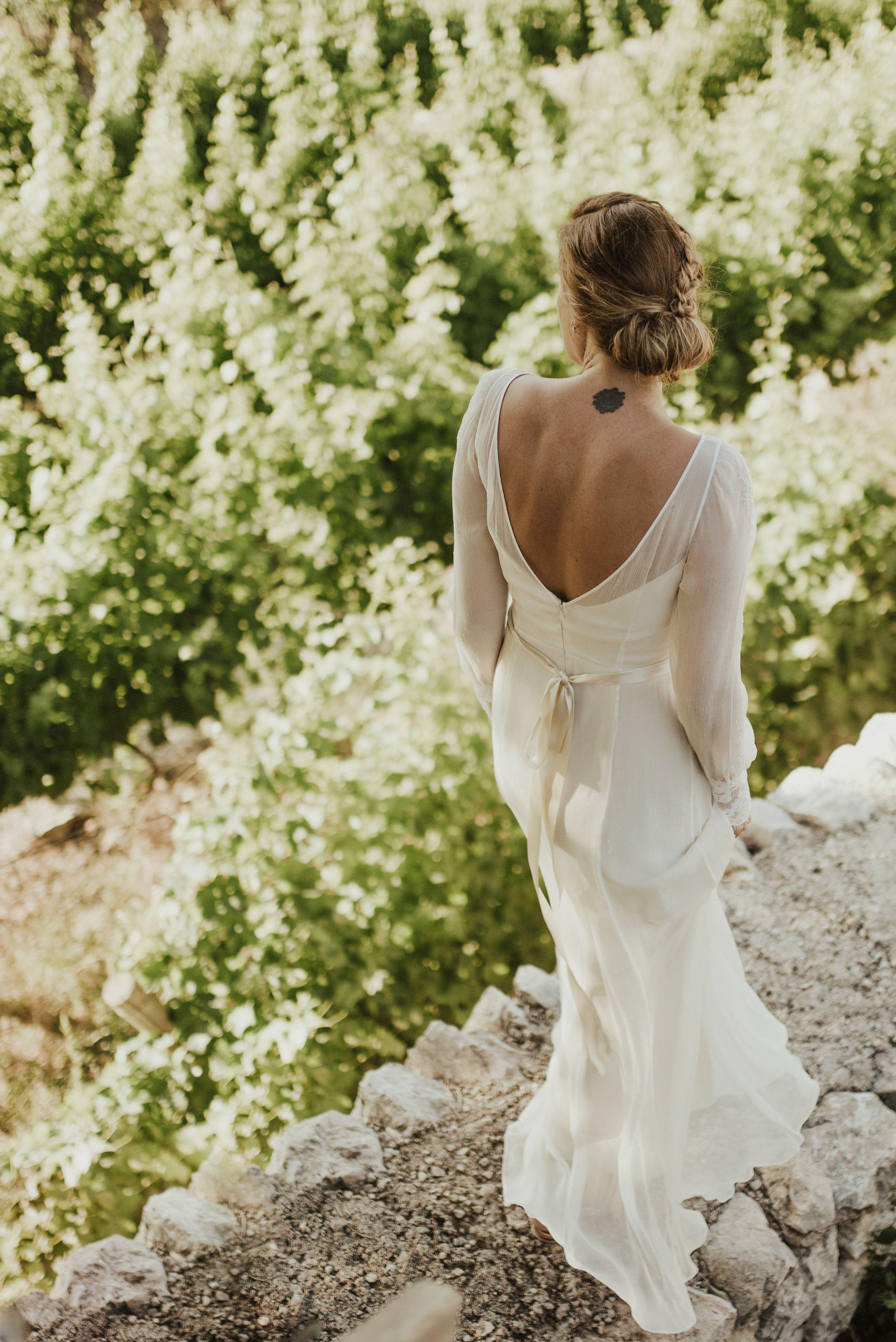 RM6325 Long Sleeve Bohemian Wedding Dress Alternative