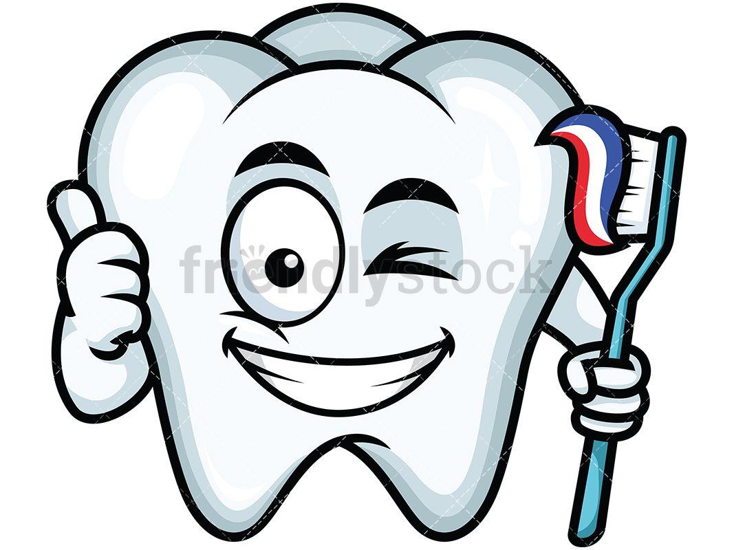 Winking Thumbs Up Tooth Emoji Emoji Clipart