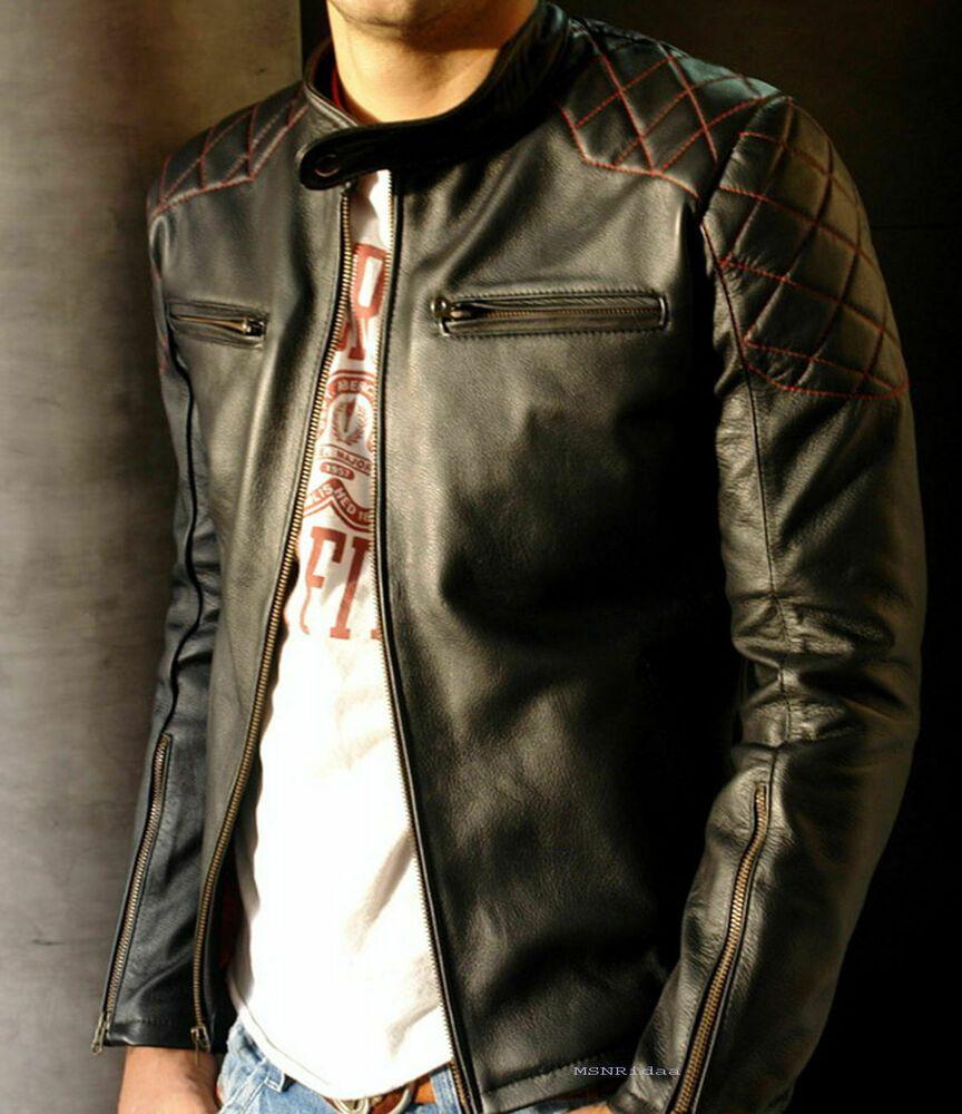 Details about Men's Hooded Leather Jacket Black Genuine