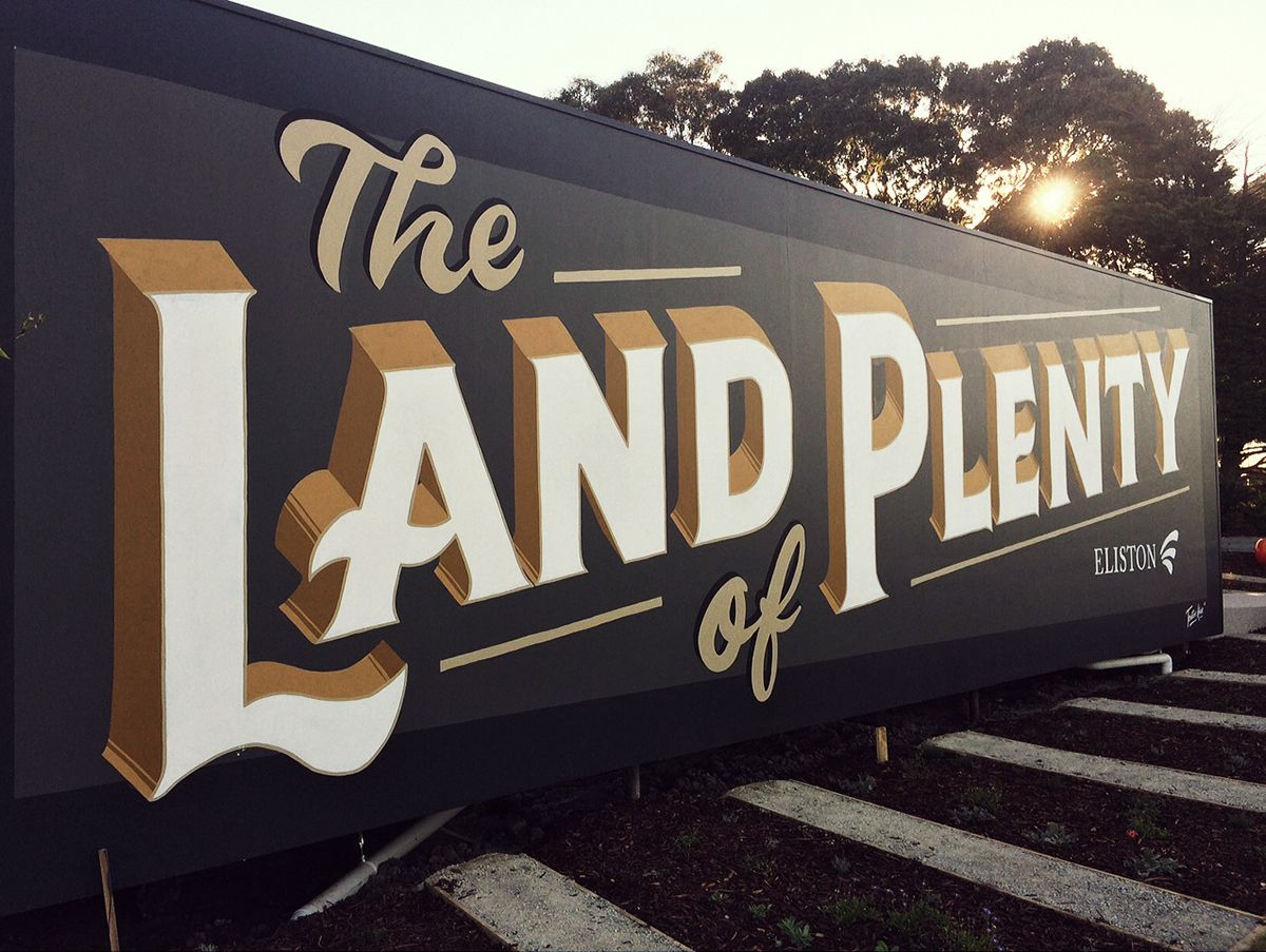 Land of Plenty - Sign painted mural on Behance