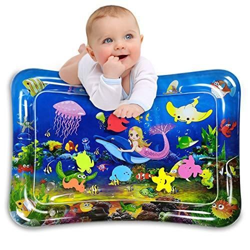 Infinno Inflatable Tummy Time Mat Premium Baby Water Play Mat for Infants and Toddlers Activity Play Center Baby Toys 3 6 9 12 Months, Strengthen Your Babies' Muscles, Mermaid Theme - Blue