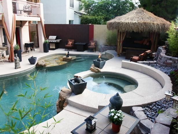 Asian Themed Swimming Pool And Tiki Style Cabana Hot Tub Outdoor Pool Designs Pool Remodel
