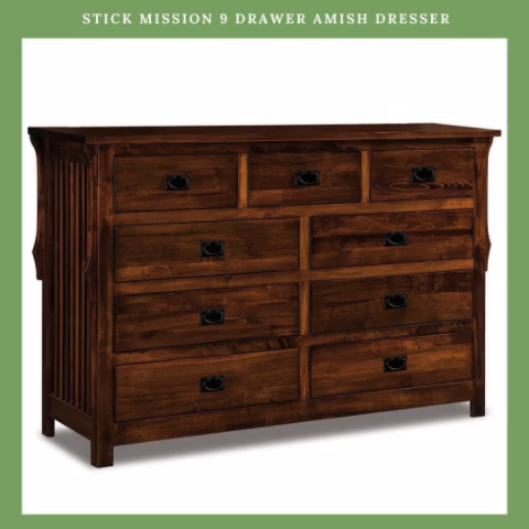 Our Stick Mission 9 Drawer Amish Dresser Has Many Secrets Watch Our Video Amish Drawer Dresser Mi In 2020 Dresser Solid Wood Dresser Amish Furniture Bedroom