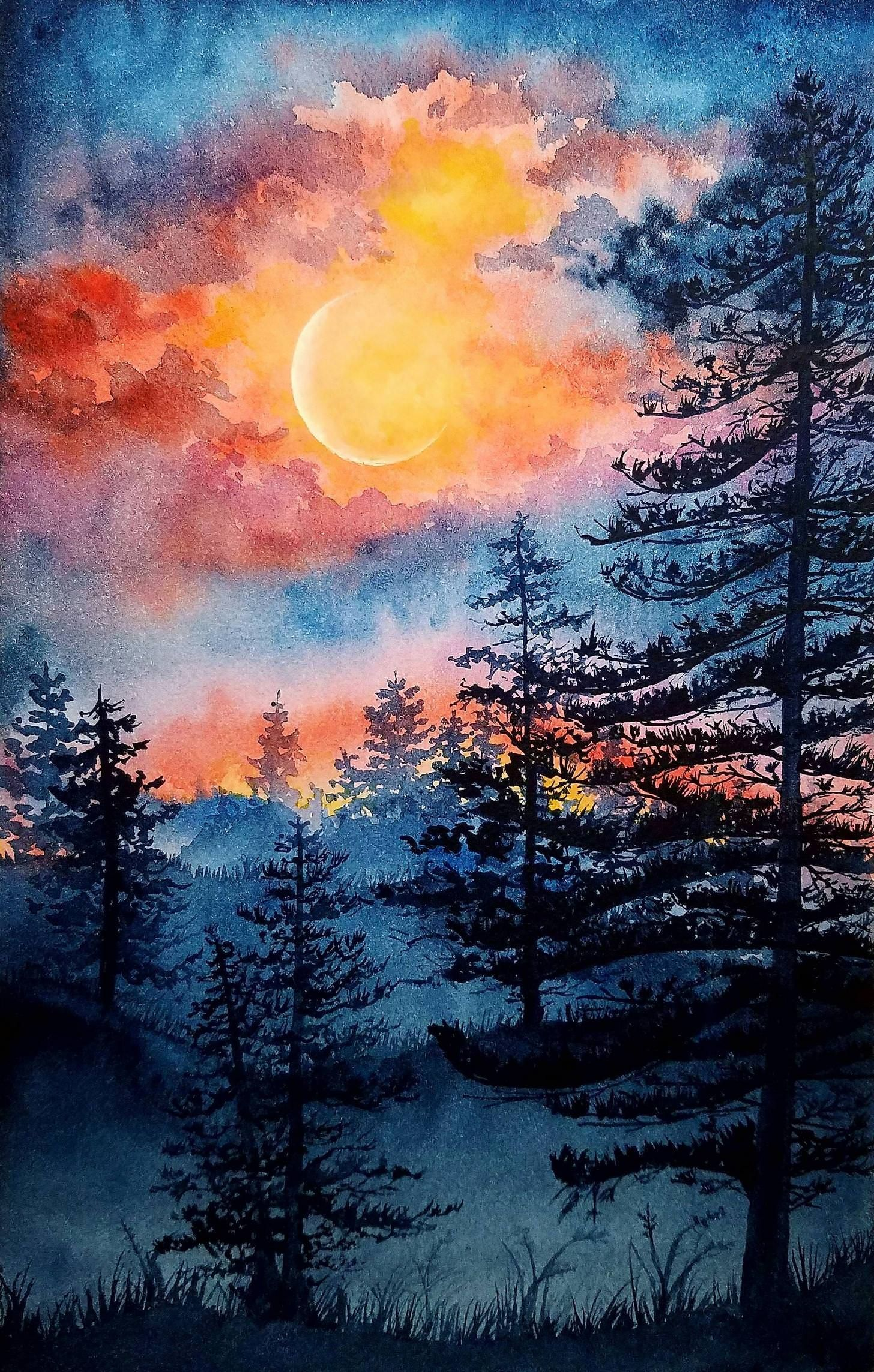 Moonlight Watercolor 6x8 Landscape Art Painting Moonlight
