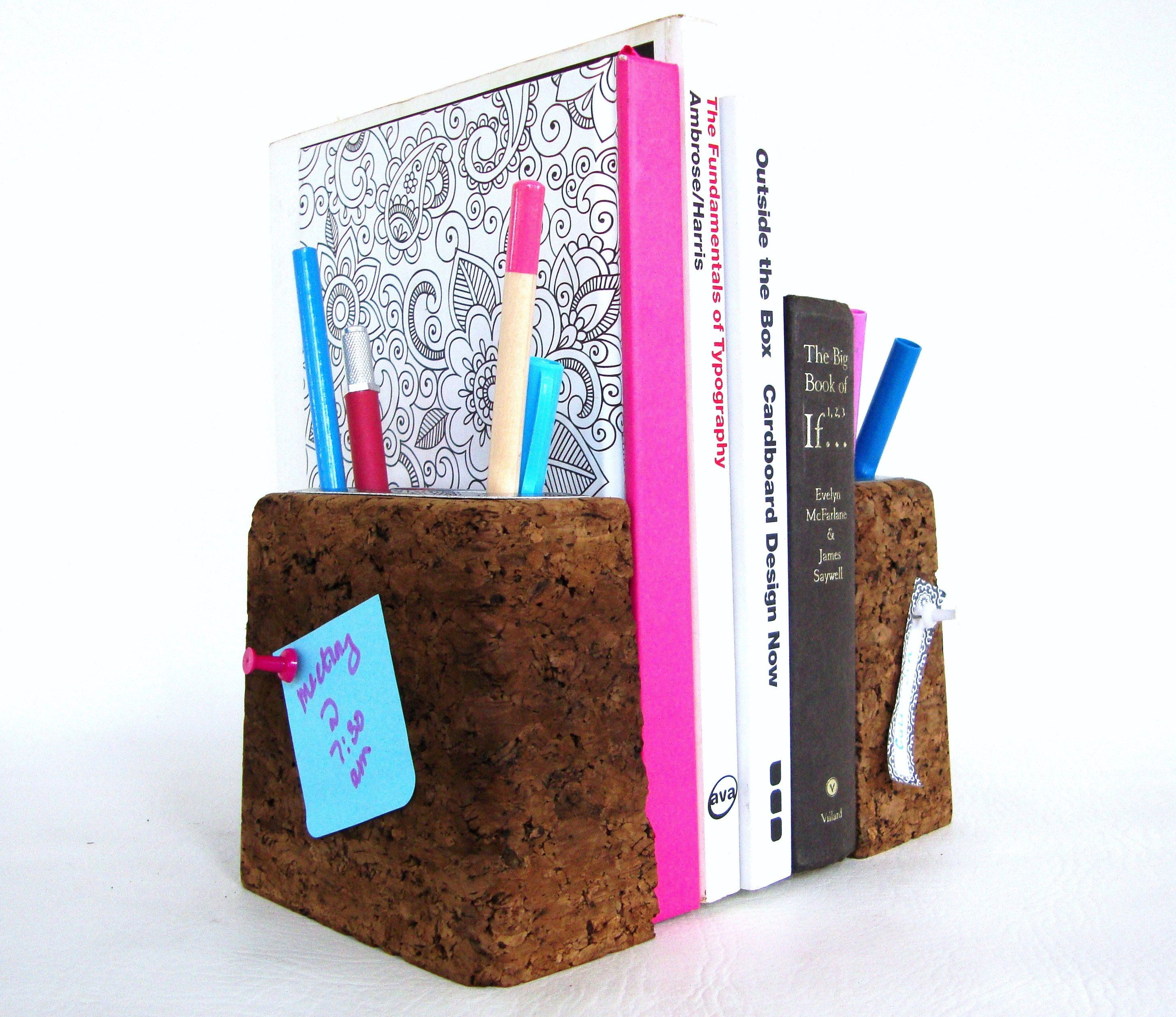 cork bookends mid century modern book ends and pen and pencil  - cork bookends mid century modern book ends and pen and pencil holder corkboard and steel